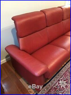 Ekornes Stressless Leather Reclining Paradise High Back 8 FT Sofa & Chair Red