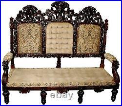 Elaborately Carved 19th Century Oak Flemish Hall Sofa, Restored & Reupholstered