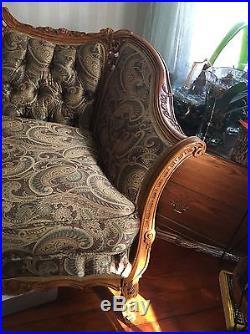 Elegant Vintage Louis XIV Antique SofaHighly Carved Wood Horse Hair Deutsch Bro