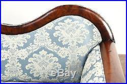 Empire 1840's Antique Carved Mahogany Sofa, New Upholstery