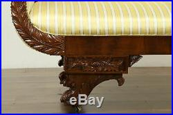 Empire Antique 1825 Acanthus Carved Mahogany Sofa, Recent Upholstery #31579