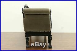 Empire Antique 1825 Sofa, New Mohair Upholstery, Ebonized Finish #31416