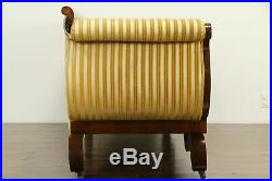 Empire Antique 1830 Flame Mahogany Sofa, Velvet Stripe Upholstery #32899