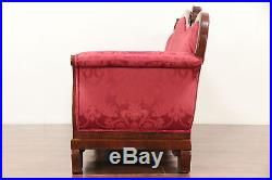 Empire Antique 1840 Carved Mahogany Sofa, New Upholstery & Bolsters #29748