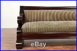 Empire Antique 1900 Flame Mahogany Sofa, Recent Upholstery #29260