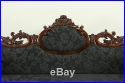 Empire Victorian Transitional Carved Mahogany Sofa, New Upholstery #32087