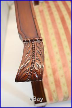 English Edwardian Mahogany Inlaid Settee and Matching Chair, Circa 1910s