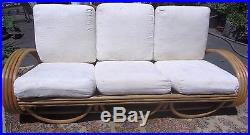 Exceptional Vintage Tropical Mid Century 1940s Rattan Bamboo Curved Frame Sofa