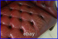 F32355EC Vintage Red Tufted Leather Chesterfield Sofa