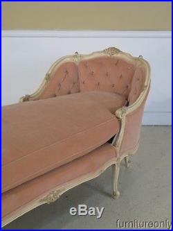 F42904 Vintage French Louis XVI Style Chaise Lounge Settee