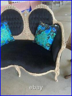 FRENCH Victorian SETTEE OUTRAGEOUS CARVINGS New FABRIC