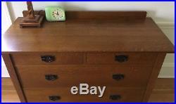 Fayetteville Stickley Mission Oak Bed, Dresser, Nightstands, Mirror & Chest