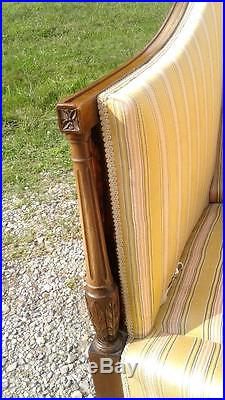 Federal Style Mahogany Upholstered Sofa Couch 1920 Vintage