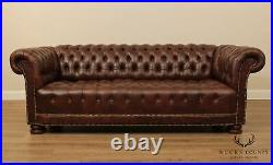 Ferguson Copeland Antique Mahogany Brown Tufted Leather New Chesterfield Sofa