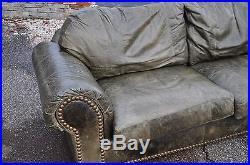 Ferguson Copeland LTD. Distressed Green Leather Sofa