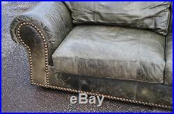 ... Ferguson Copeland Ltd Distressed Green Leather Sofa ...