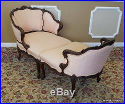 Fine Antique Carved Mahogany French Louis Duchesse Brisee Chaise Lounge c1890