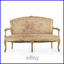 Fine French Louis XV Style Carved Giltwood Antique Canapé Sofa Settee c. 1900