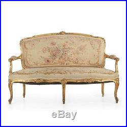 Fine French Louis XV Style Carved Giltwood Canapé Sofa Settee circa 1900