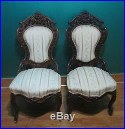 Fine MEEKS STANTON HALL 5-Piece Parlor Set Arm & Side Chairs + Couch c. 1860s