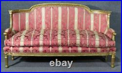 Fine Quality French Louis XVI Gilded Carved Settee Sofa Couch Canape C1880s