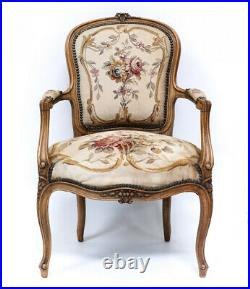French Aubusson Embroidered Tapestry Fauteuil Chair 19th Century