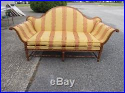 French Country Federal Camel Back Striped Sofa Couch