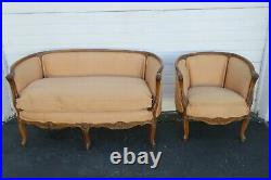 French Early 1900s Hand Carved Walnut Large Loveseat Settee Small Sofa 2004