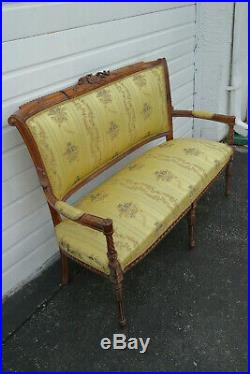 French Hand Carved Violin Vintage Settee Love Seat 9768
