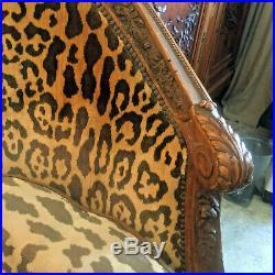 French Jaguar Silk Velvet Antique Canape Settee, 18th c. Walnut RARE