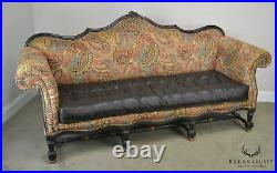 French Louis XIV Style Old Hickory Tannery Tufted Brown Leather & Paisley Sofa