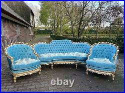 French Louis XVI Hand Carved Solid Wooden Living Room Set 3 Pieces