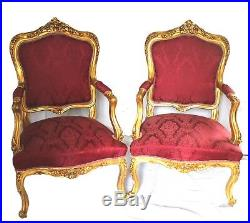French Louis XVI Style Antique Gilded Chairs, Reupholstered Set of 2