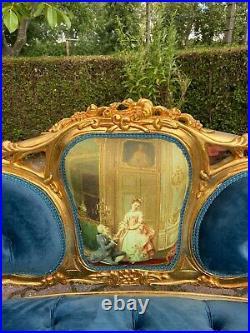 French Louis XVI Style Blue Tufted Velvet Sofa/Settee/Couch/Loveseat