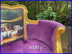 French Louis XVI Style Settee in Purple Velvet and Gobelin