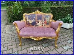 French Louis XVI Style Settee in Velvet and Gobelin