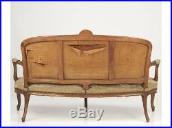 French Louis XV Polychrome Aubusson Antique Settee Sofa, Belzaco & Sons, 19th C