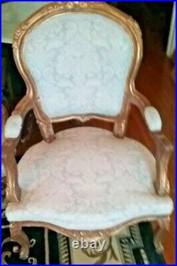 French Louis XV SETTEE Canape and 2 Arm Chairs, Giltwood-FADED GLORY
