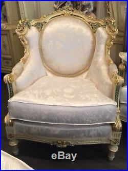 French Provincial Rococo Baroque Italian sofa chair Italy handpainted by Rossi