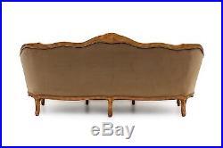 French Provincial sofa in Mushroom Velvet by Meyer Gunther Martini Baker 79 inch
