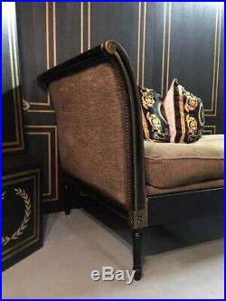 French Regency Neoclassical Sofa/ Daybed Black Lacquer