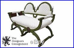 French Renaissance Designer Bench Fauteuil Settee Saddle Seat Loveseat Oak 50