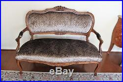 French Walnut Antique Gray L. Green Settee Loveseat Bench With New Upholstery