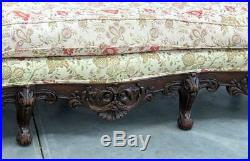 Fully Carved Standing Lions Walnut English Georgian Sofa Couch Love Seat C1900s