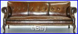 Fully Restored Deep Brown Leather Chesterfield Club Sofa Carved Wood Leaf Legs