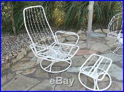G175 Vintage 3 Piece Homecrest Mid Century Wire Metal Patio Furniture w cushions
