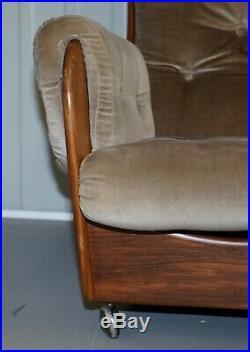 G Plan 1960's Saddle Three Piece Suite Original Upholstery Solid Teak Frames