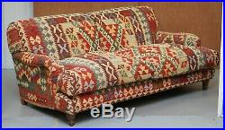 George Smith Signature Scroll Arm Kilim Upholstered Sofa Original Upholstery