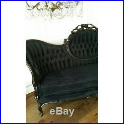 Glam Black Bella Louie XV Style French Sofa Settee Couch Chaise Tufted Boudoir
