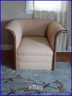 Gold Art Deco sofa and matching chair with walnut trim circa 1930's